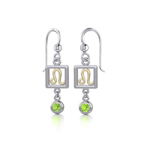 Leo Zodiac Sign Silver and Gold Earrings Jewelry with Peridot MER1773 peterstone.