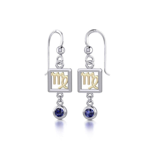 Virgo Zodiac Sign Silver and Gold Earrings Jewelry with Sapphire MER1774 peterstone.