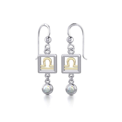 Libra Zodiac Sign Silver and Gold Earrings Jewelry with Opal MER1775 peterstone.