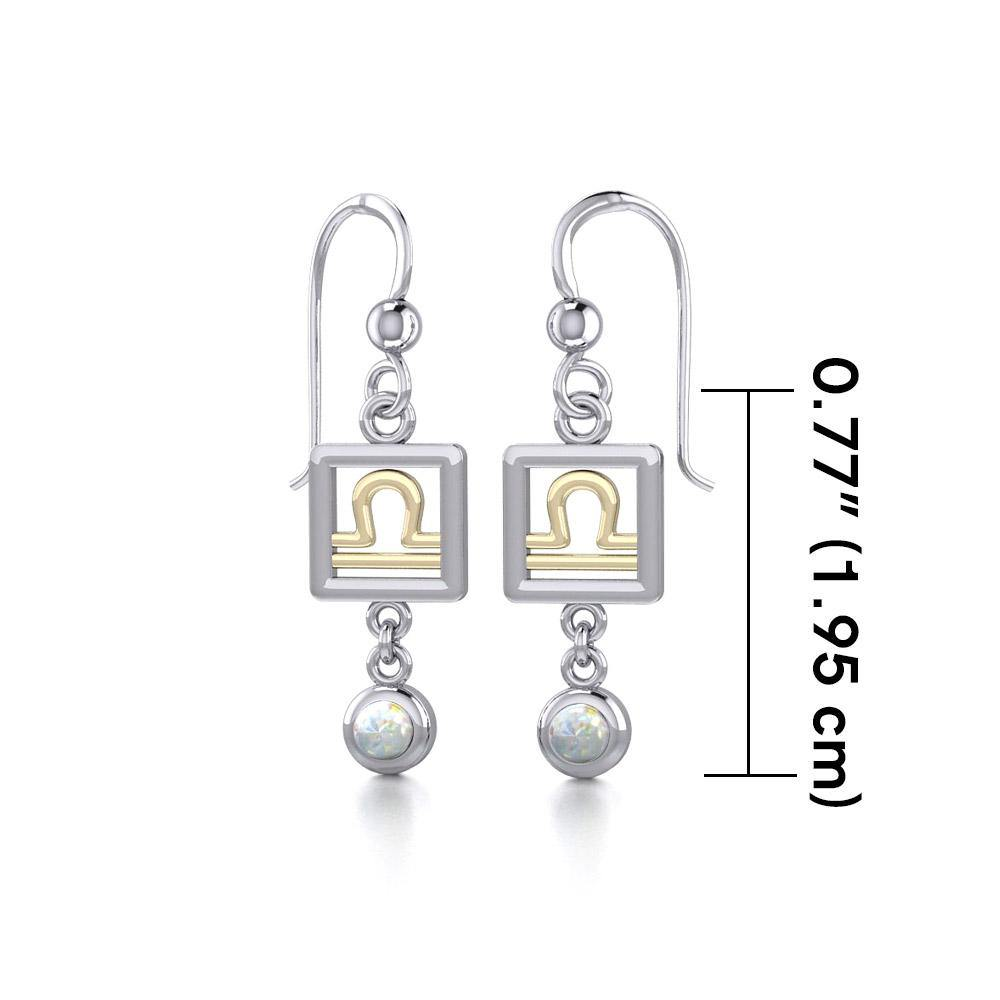 Libra Zodiac Sign Silver and Gold Earrings Jewelry with Opal MER1775