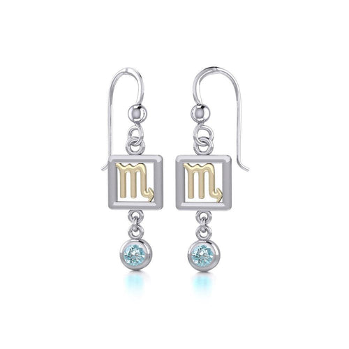 Scorpio Zodiac Sign Silver and Gold Earrings Jewelry with Blue Topaz MER1776 peterstone.