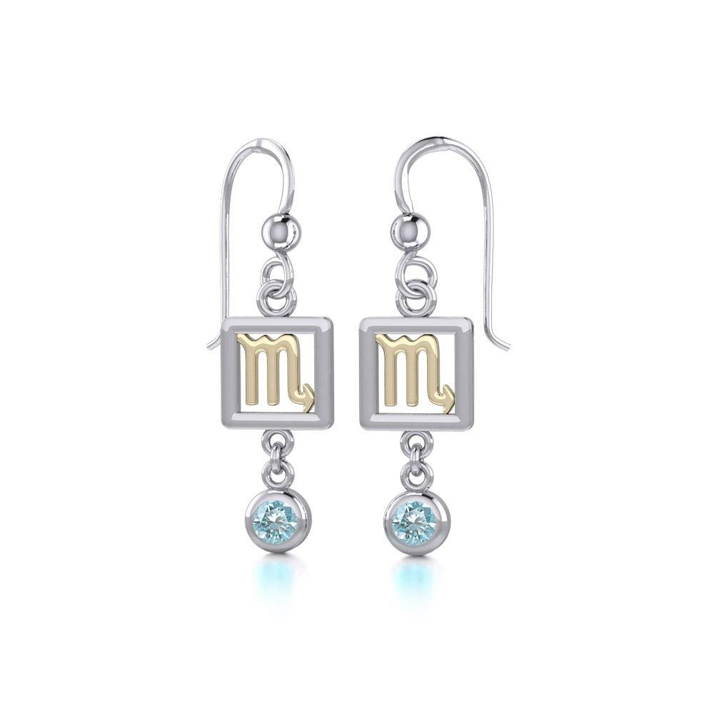 Scorpio Zodiac Sign Silver and Gold Earrings Jewelry with Blue Topaz MER1776