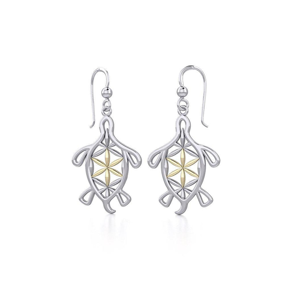 Turtle with Flower of Life Shell Silver and Gold Earrings MER1784