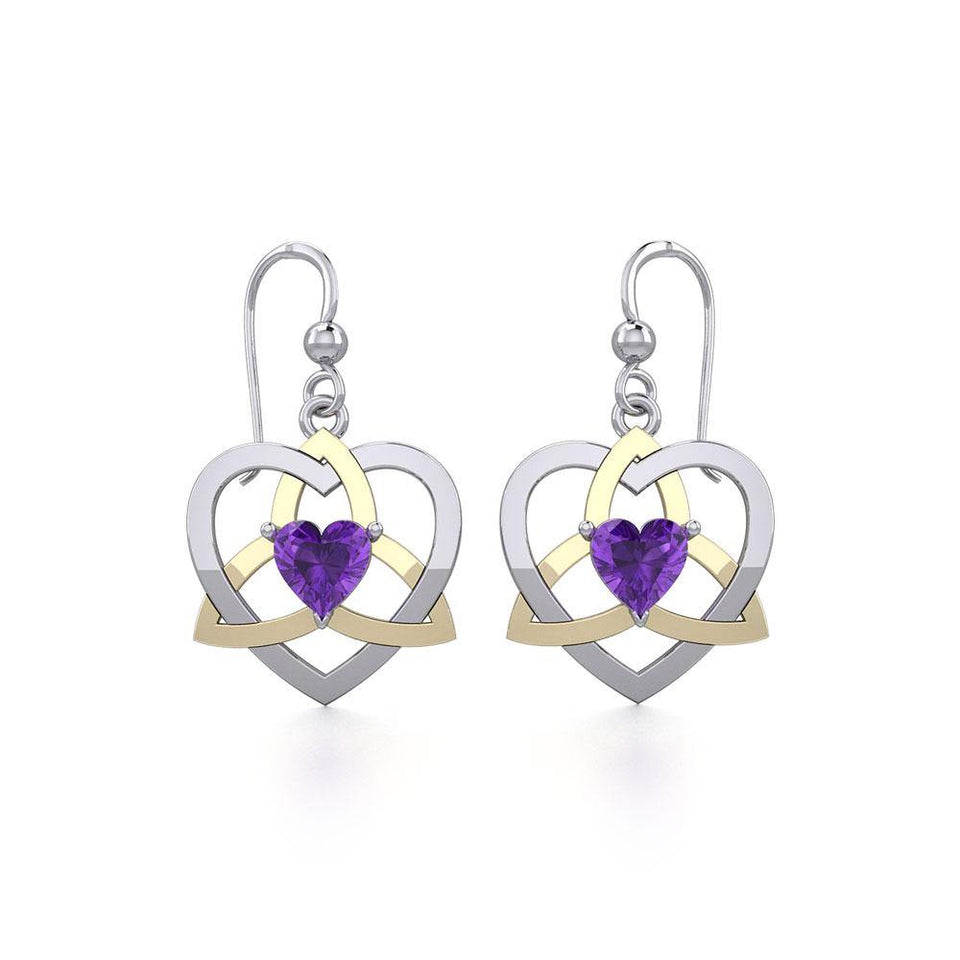 The Celtic Trinity Heart Silver and Gold Earrings with Gemstone MER1788 peterstone.