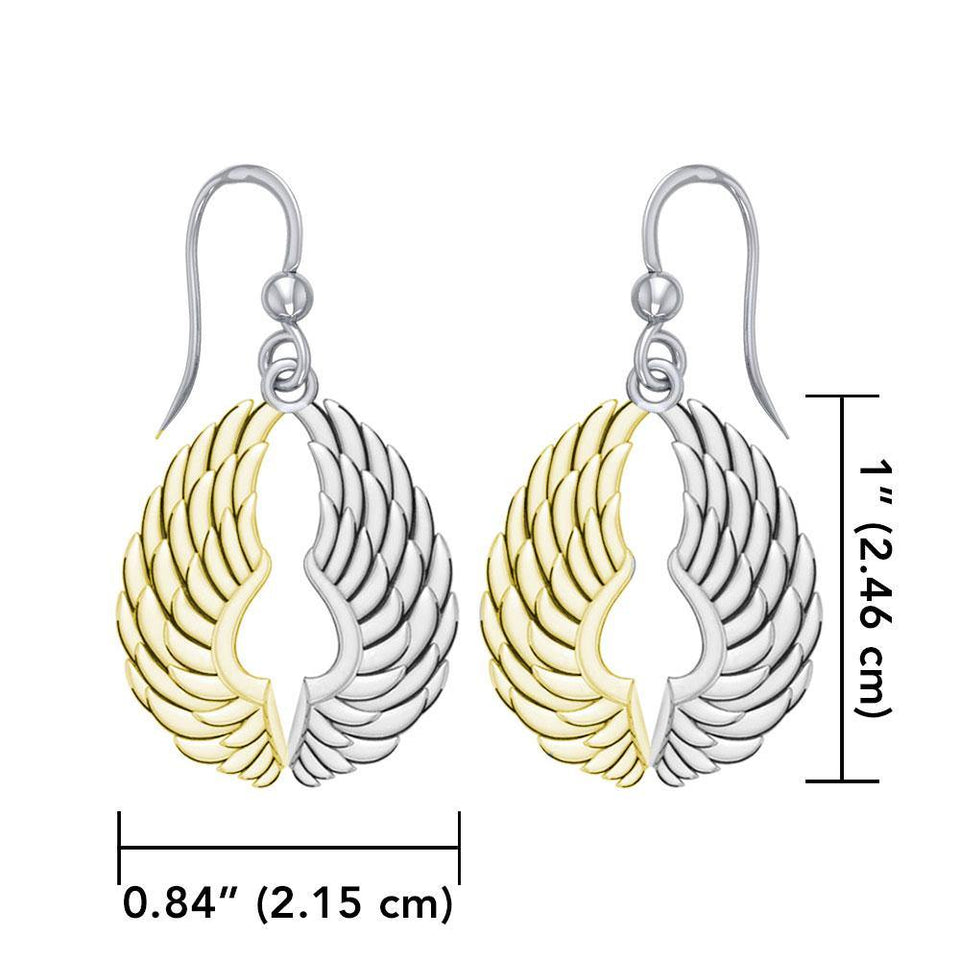 14 Karat Gold Plated on Sterling Silver Angel Wings Earrings MER1828