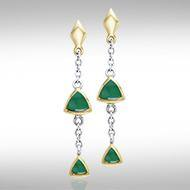 Blaque Hanging Triangles Earrings MER397 peterstone.