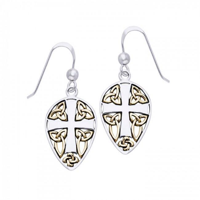 35943dad5 Celtic Knot Cross Shield Gold Accent Silver Earrings – Peter Stone Jewelry