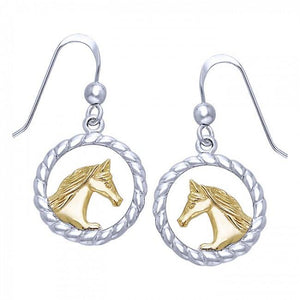Friesian Horse in Rope Braid Silver & Gold Earrings MER535 peterstone.