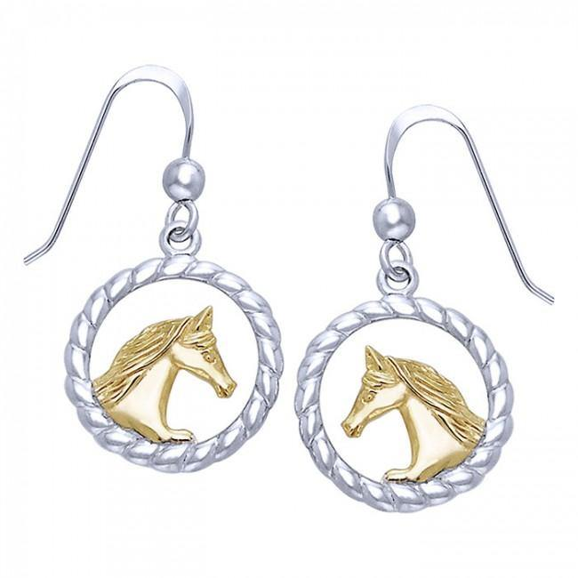 Friesian Horse in Rope Braid Silver & Gold Earrings MER535