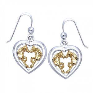 Friesian Horse Pair in Heart Silver & Gold Earrings MER536 peterstone.