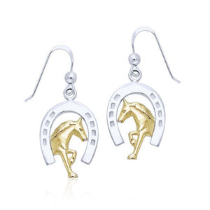Friesian Horse in Horseshoe Silver & Gold Earrings MER537 peterstone.
