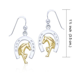 Friesian Horse in Horseshoe Silver & Gold Earrings MER537