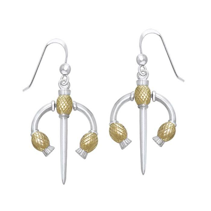 Danu Silver and Gold Thistle Earrings MER551