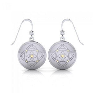 Be Focused, a life philosophy ~ Sterling Silver Jewelry Earrings Mandala with 14k gold accent peterstone.