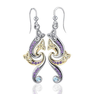 Celtic Triskele Silver and Gold Earrings MER569 peterstone.
