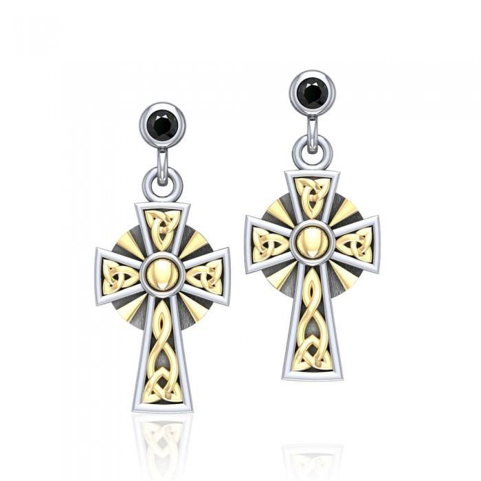 6b17dbdf8 Wear your divine style ~ Sterling Silver Jewelry Celtic Cross Earrings with  18k Gold accent