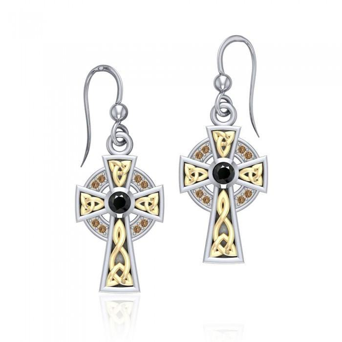 Celtic Cross Silver & Gold Earrings MER701