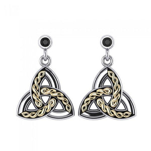 Celtic Trinity Knot Silver and Gold Post Earrings MER705