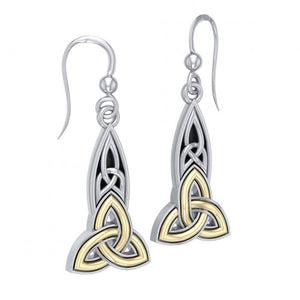 Celtic Trinity Knot Silver & Gold Earrings MER707 peterstone.