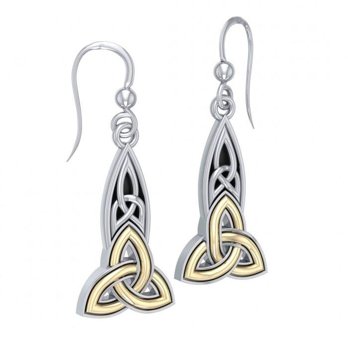 Celtic Trinity Knot Silver & Gold Earrings MER707