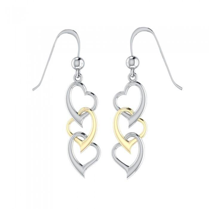 Triple Heart Silver and Gold Earring MER966