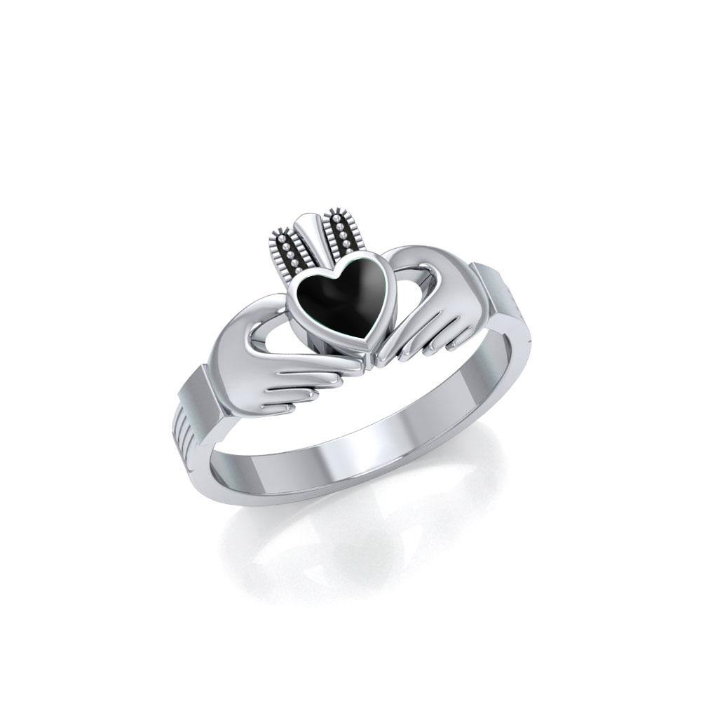 Irish Claddagh Silver Ring with Gem MG058I