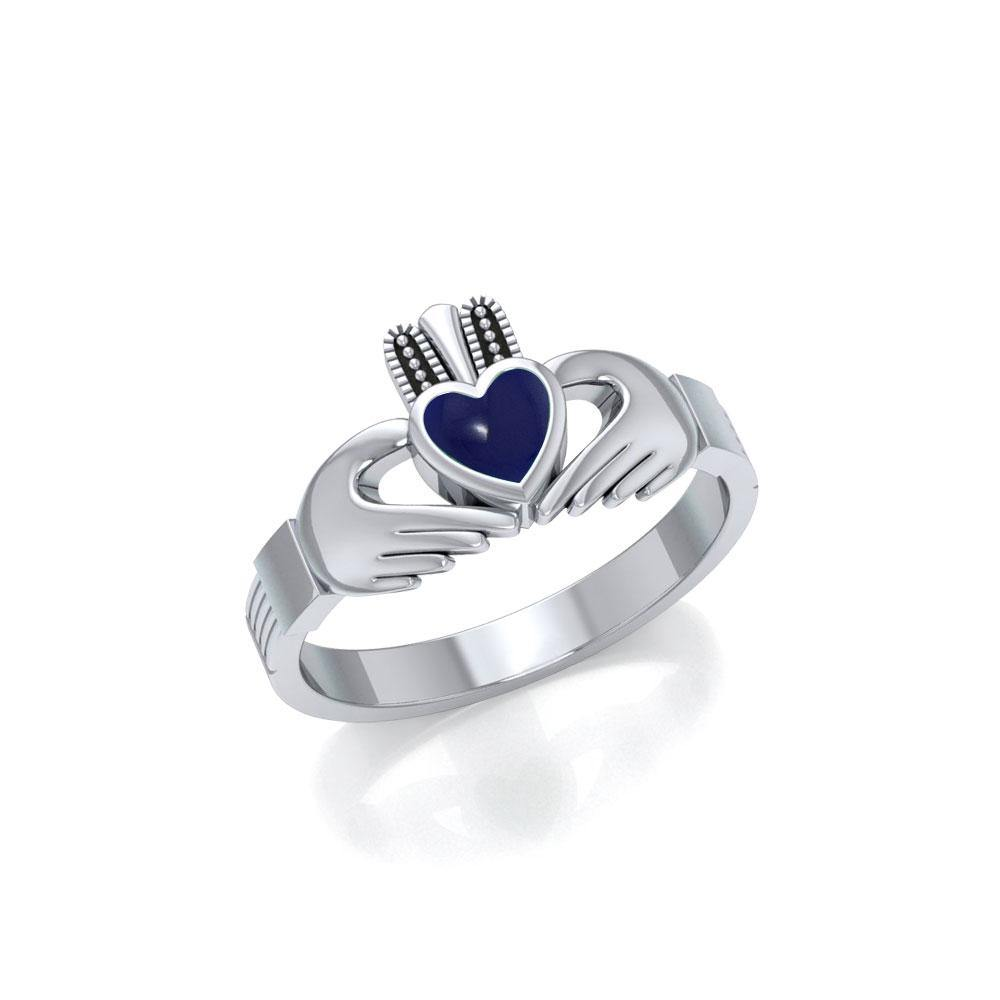 Irish Claddagh Silver Ring with Gem
