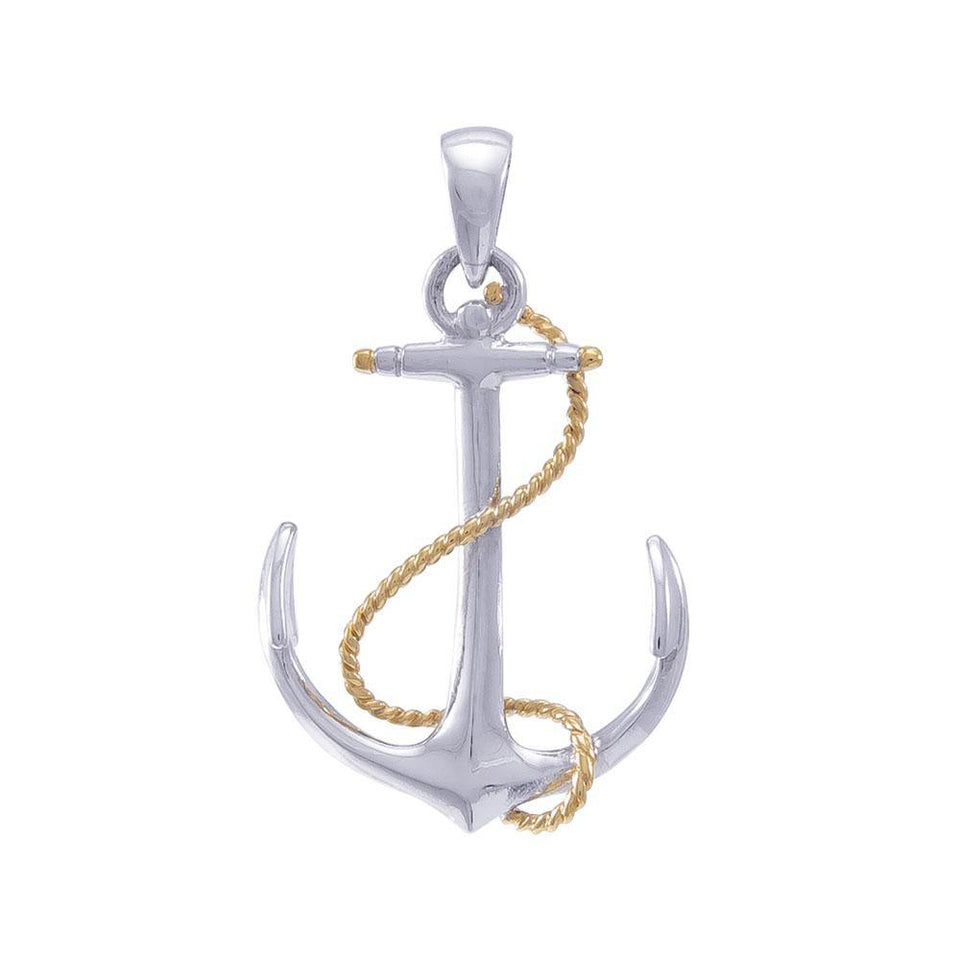 Anchor Sterling Silver and 18K Vermeil Gold Accent Pendant MGV635