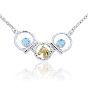 Draft Horse and Bit Silver & Gold Necklace MNC133