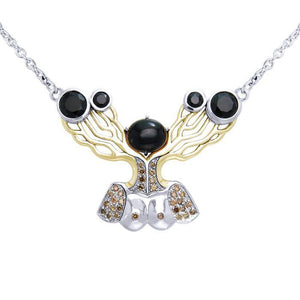 An impressive reminder of Dali's art ~ fine Sterling Silver Necklace in 18k Gold overlay accented with Diamonds and Black Spinel peterstone.
