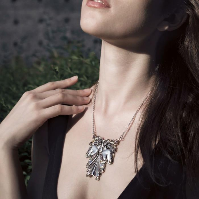 Dali-inspired fine Sterling Silver Body Shape Jewelry Necklace in 14k Gold accent