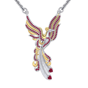 Mythical Phoenix arise! ~ Sterling Silver Jewelry Necklace with 14k Gold and Gemstone Accents peterstone.