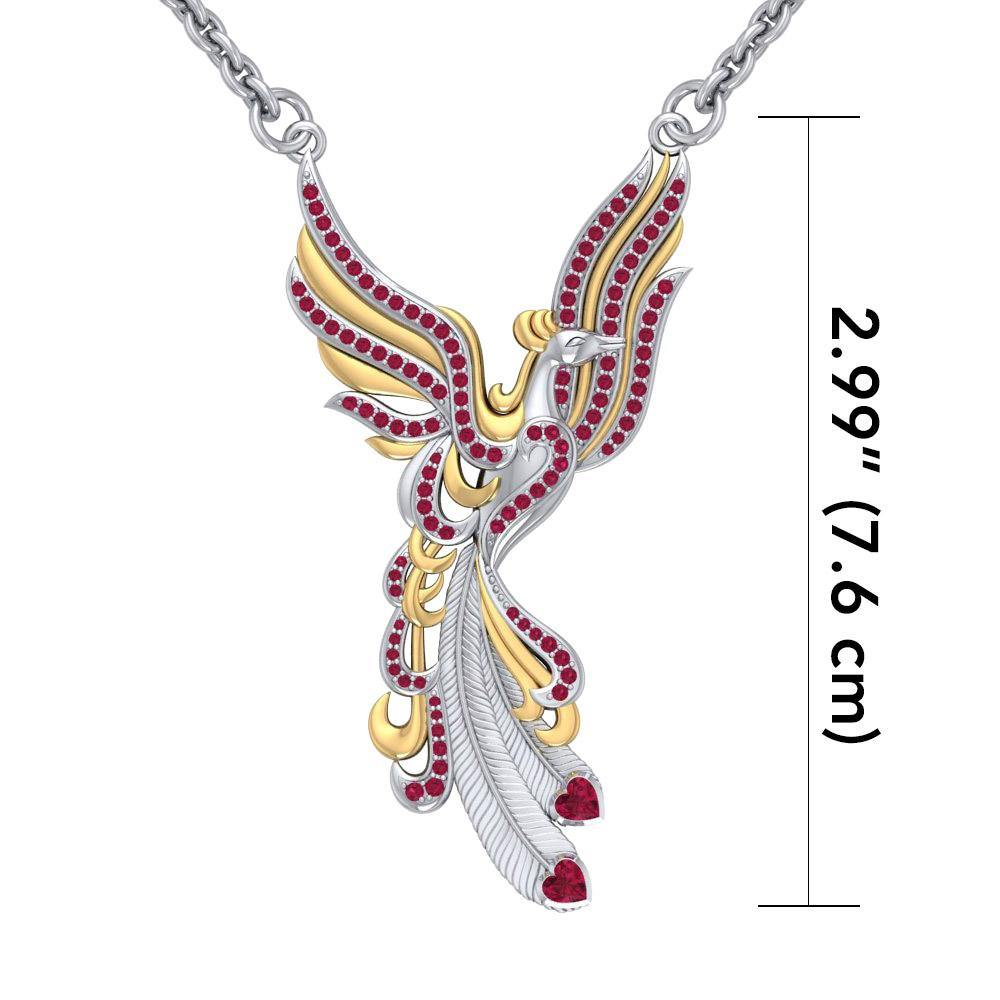Mythical Phoenix arise! ~ Sterling Silver Jewelry Necklace with 14k Gold and Gemstone Accents