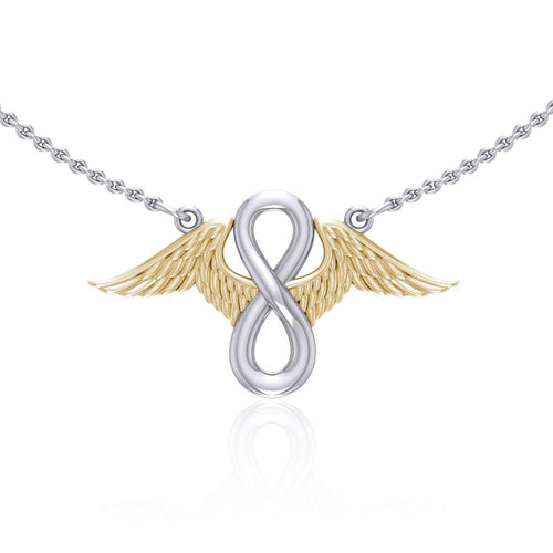 Angel Wings with Infinity Silver and Gold Necklace MNC445
