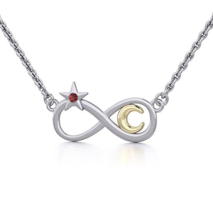 Infinity Moon and Star Silver and Gold Necklace with Gemstone MNC486