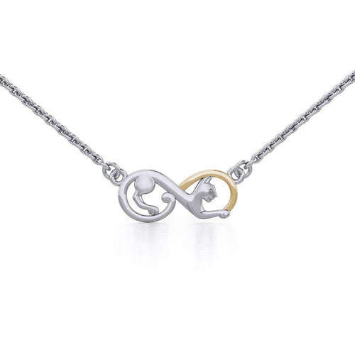 Infinity Cat Silver and Gold Necklace MNC489 peterstone.