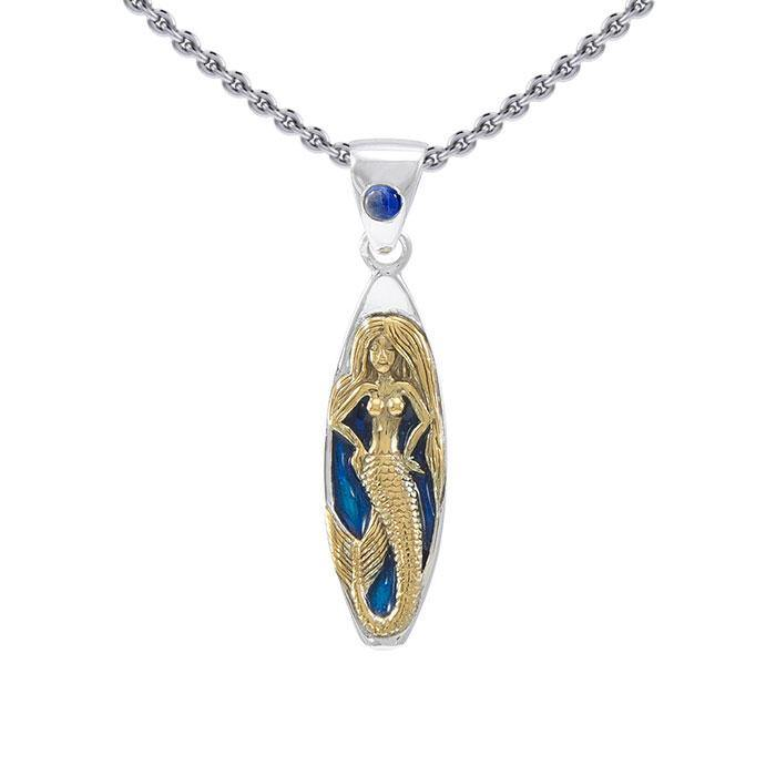 Mermaid Surfboard Sterling Silver and Vermeil Gold Accent  Pendant MPD077 peterstone.