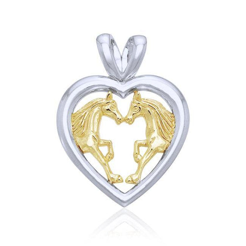 Horses in Love Silver & Gold Pendant MPD1080 peterstone.