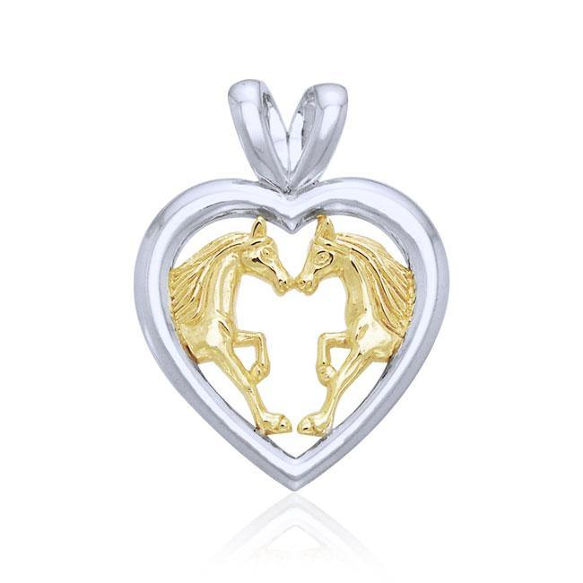 Horses in Love Silver & Gold Pendant MPD1080