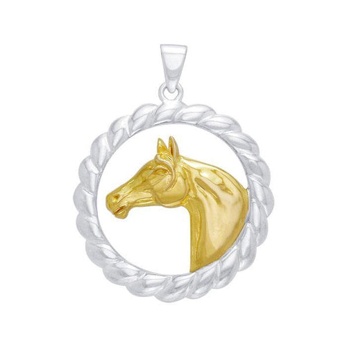 Friesian Horse in Rope Braid Silver & Gold Pendant MPD1081 peterstone.