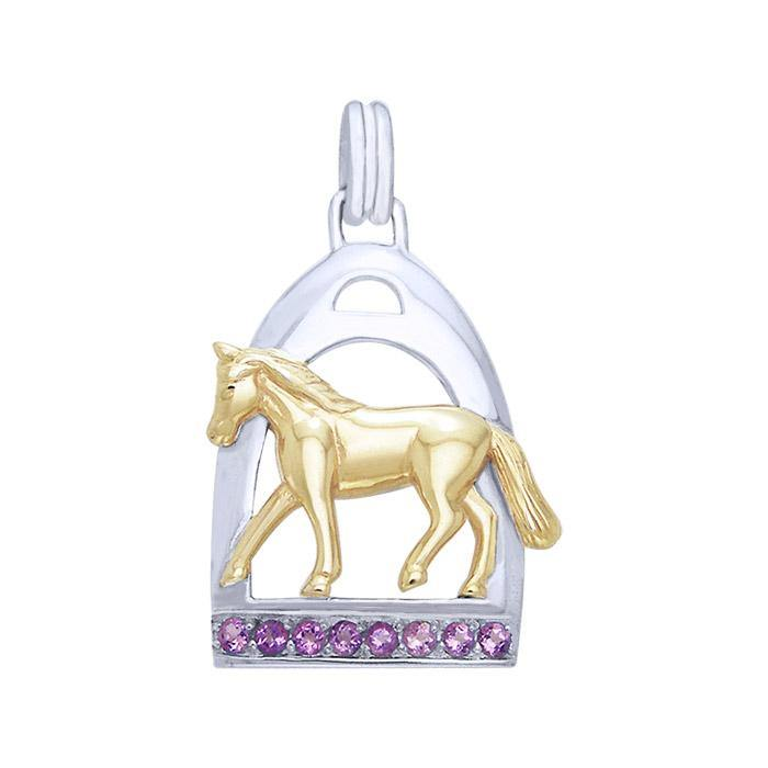 Horse and Stirrup Silver & Gold Pendant MPD1086 peterstone.