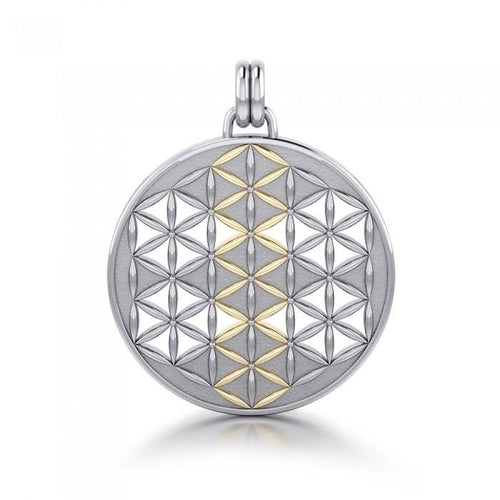 Flower of Life Mandala Silver and Gold Pendant MPD1146 peterstone.
