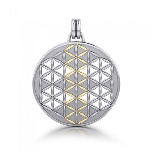 Flower of Life Mandala Silver and Gold Pendant MPD1146