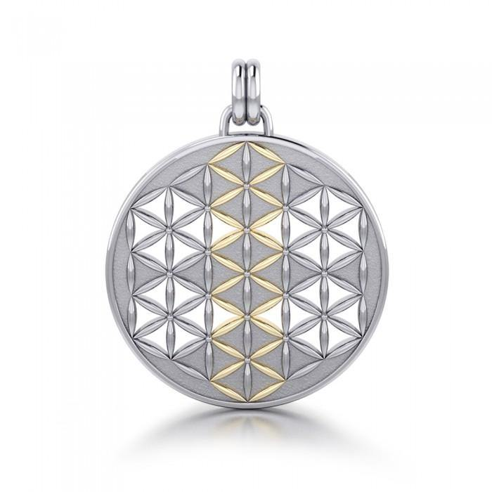 Flower of Life Mandala Silver and Gold Pendant