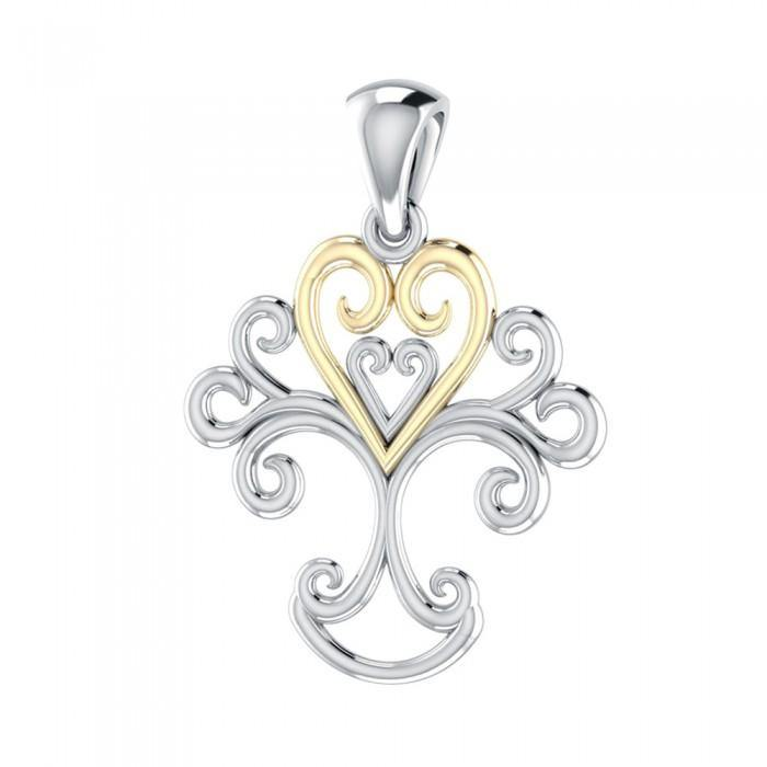 Tree Heart Silver with Gold Accent MPD1220
