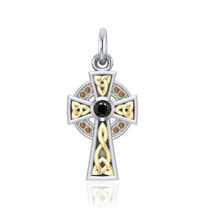An inspiring crucifix ~ Sterling Silver Jewelry Celtic Cross Pendant with 18k Gold accent MPD1805 peterstone.