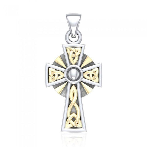 Celtic Cross Silver & Gold Pendant MPD1806 peterstone.