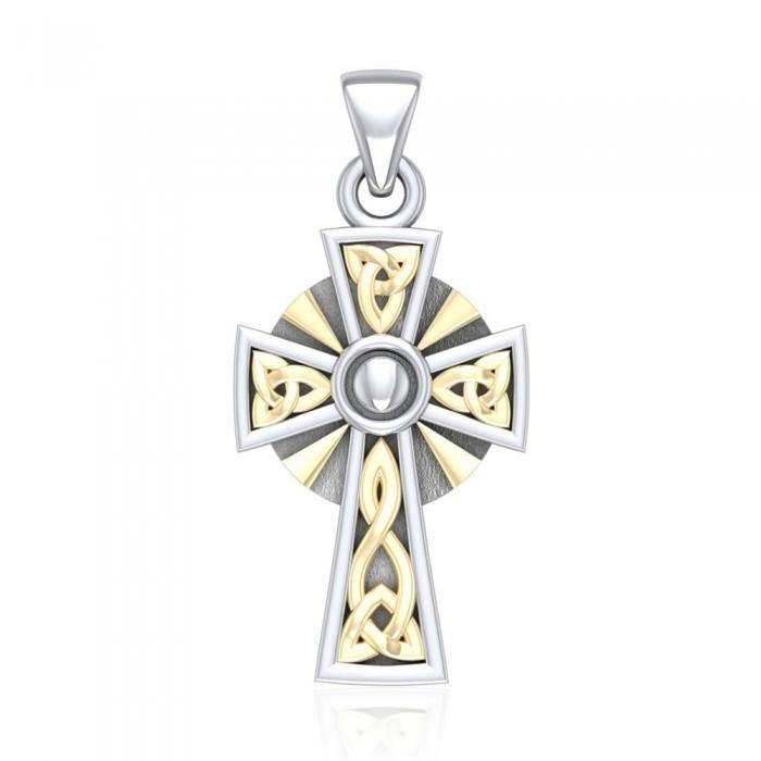 Celtic Cross Silver & Gold Pendant MPD1806