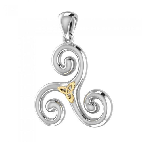 Celtic Triskele Silver and Gold Pendant MPD1817 peterstone.