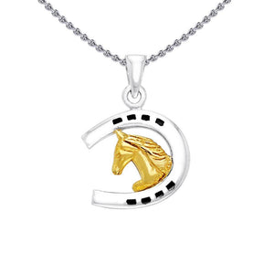 Friesian Horse in Horseshoe Silver & Gold Pendant MPD2101 peterstone.